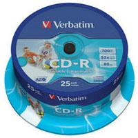 Диск CD Verbatim 700Mb 52x Cake box 25 Printable (43439)