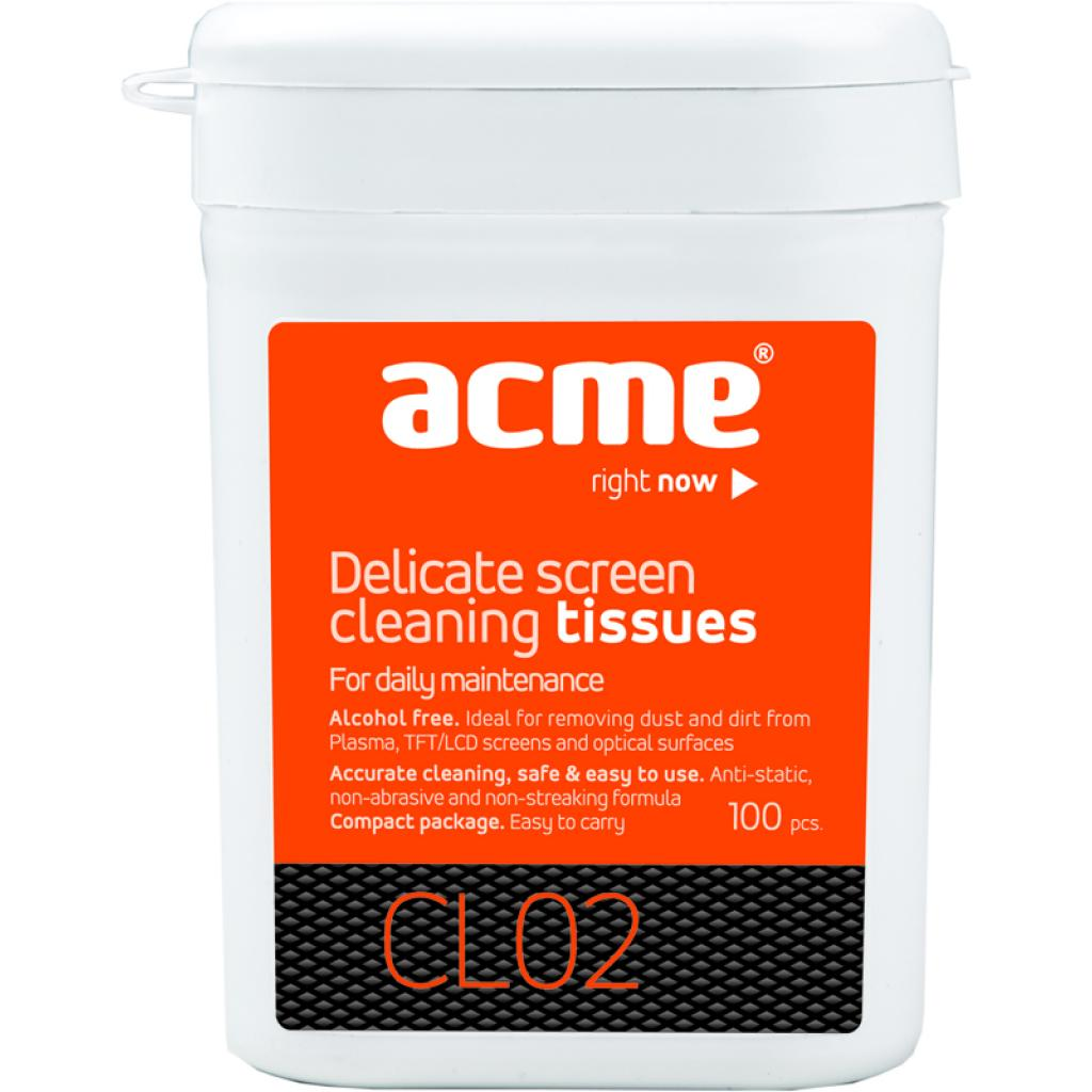 Салфетки ACME CL02 Screen Cleaning Wipes TFT/LCD 100 шт.в компактній тубі (4770070392225)