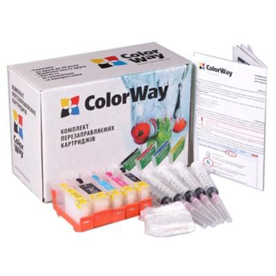 Комплект перезаправляемых картриджей ColorWay Canon 3600/4600/MG5140 (no chip) (IP3600RN-0.0)