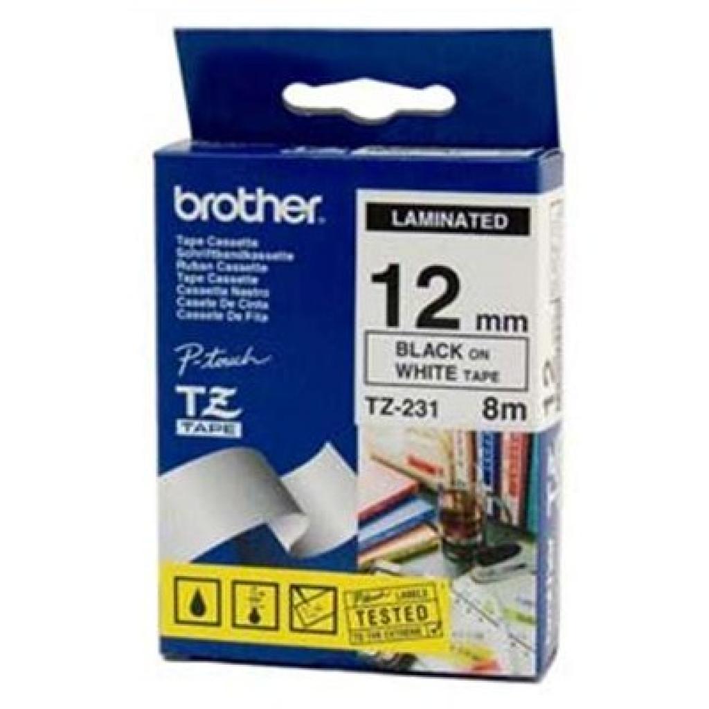 Бумага Brother 12mm Laminated white, Print black (TZE231)