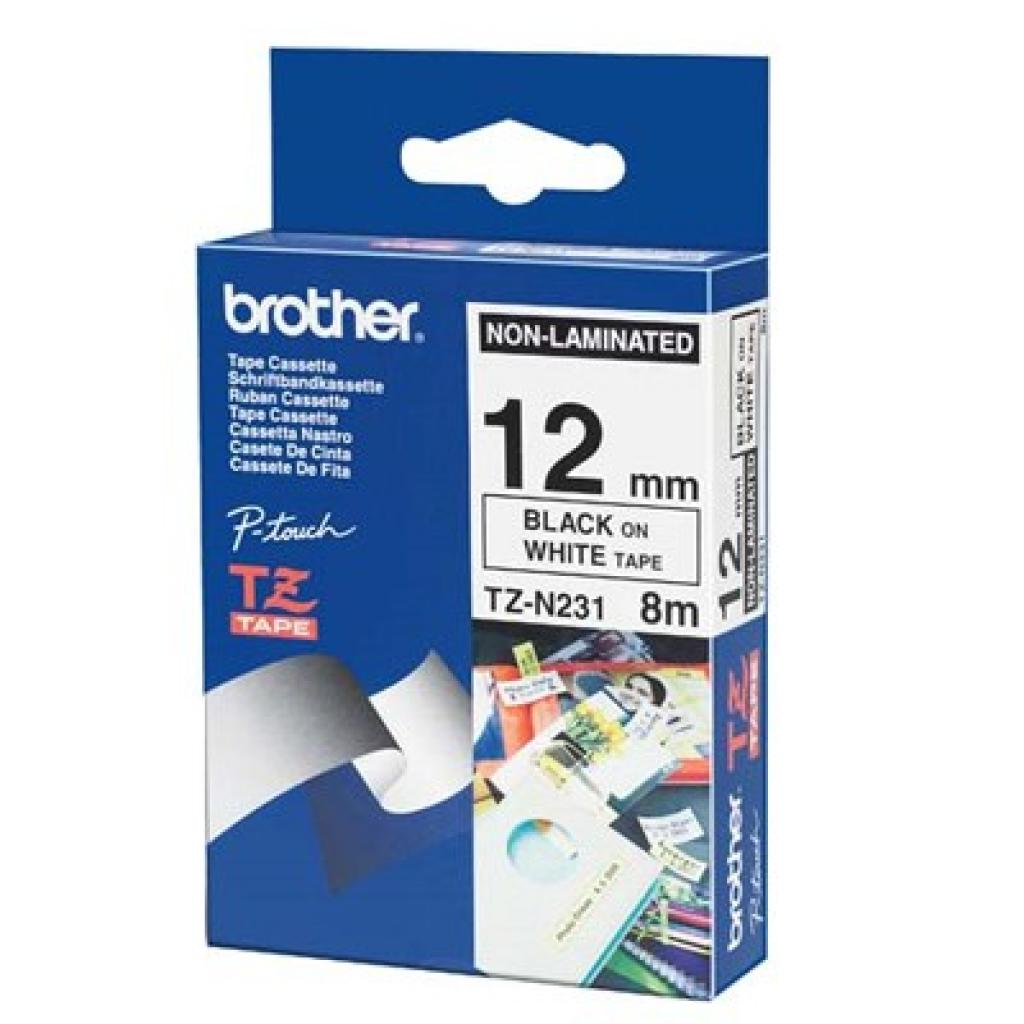 Бумага Brother 12mm white, Print black (TZEN231)