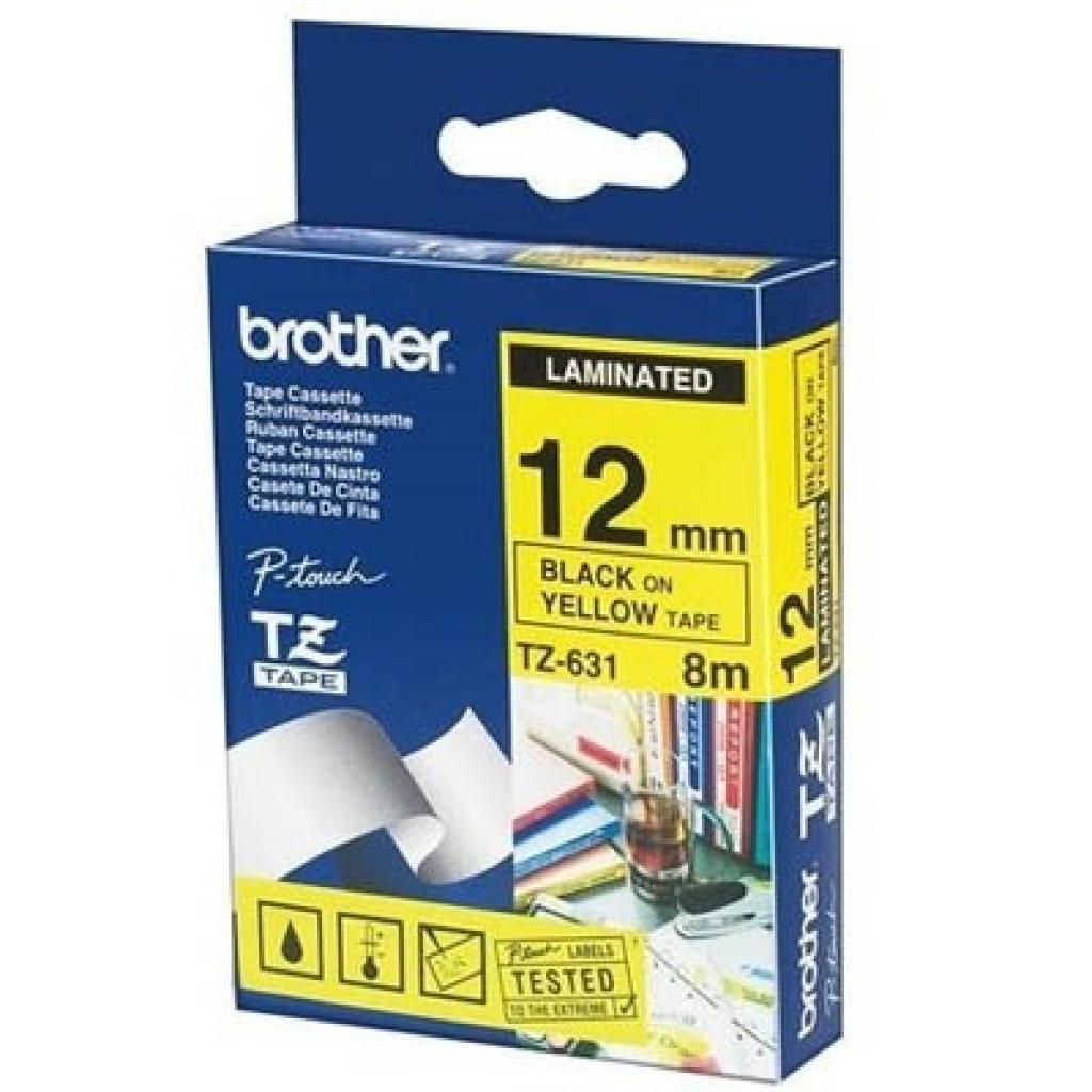 Бумага Brother 12mm Laminated yellow, Print black (TZE631)