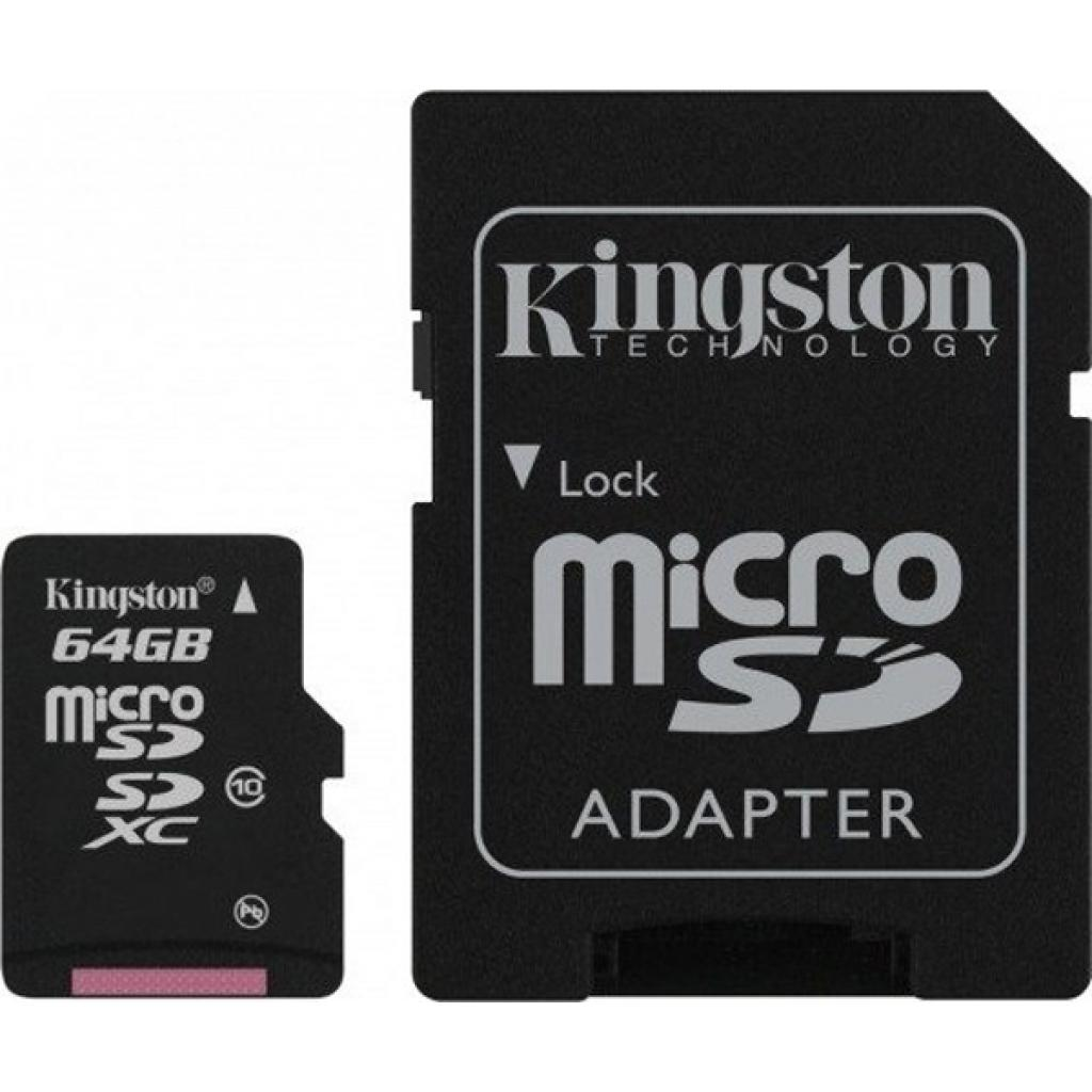 Карта памяти 64Gb microSDXC class 10 Kingston (SDCX10/64GB)