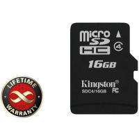 Карта памяти 16Gb microSDHC class 4 Kingston (SDC4/16GBSP)