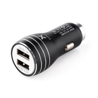 Зарядное устройство Vinga Dual USB Car Charger aluminium 15.5W Max (VCCAABK)