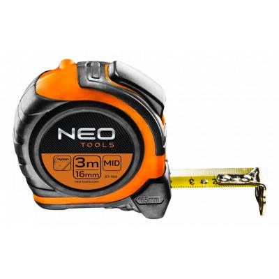 Рулетка NEO стальная лента 3 м x 16 мм, магнит, двусторонний (67-193)
