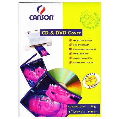 Бумага Canson для CD/ DVD, конверт, 230г, A4, 6ст (872853)