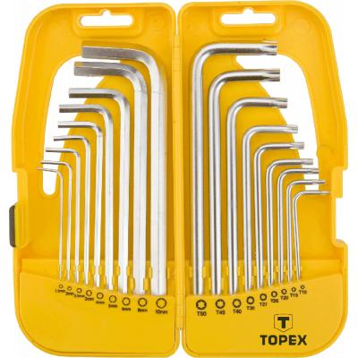 Набор инструментов Topex ключи шестигранные HEX м Torx, набор 18 шт.*1 уп. (35D953)