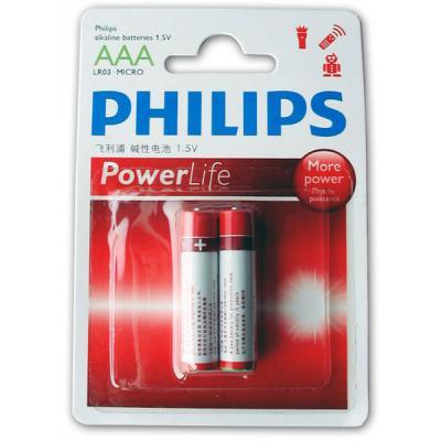 Батарейка PHILIPS LR03 PHILIPS PowerLife P2B * 2 (LR03P2B/97)